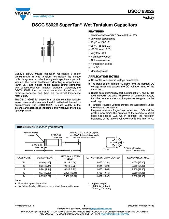 Vishay DSCC 93026 Series Tantalum Capacitors
