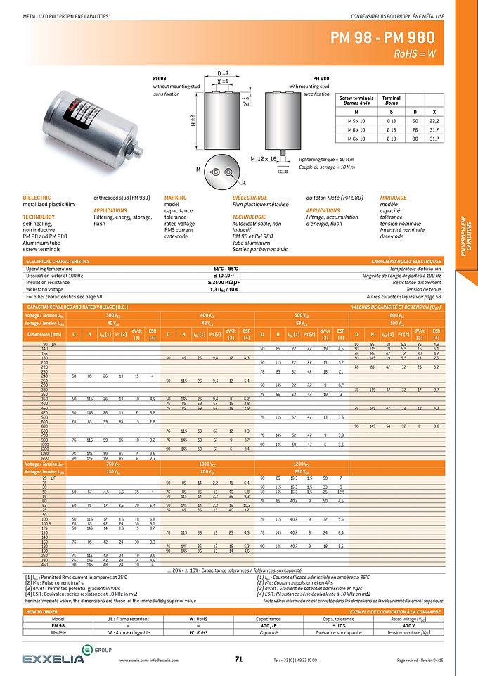Exxelia PM 98 Series Film Capacitors