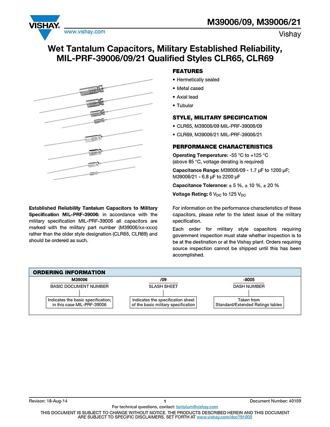 Vishay M39006/09/21 Series Wet Tantalum Capacitors