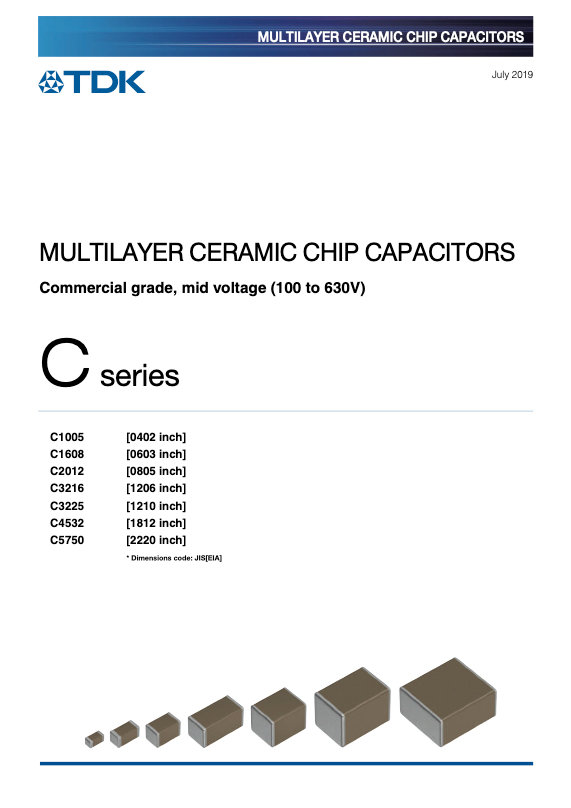 TDK C Series Mid Voltage MLC Chip Capacitors