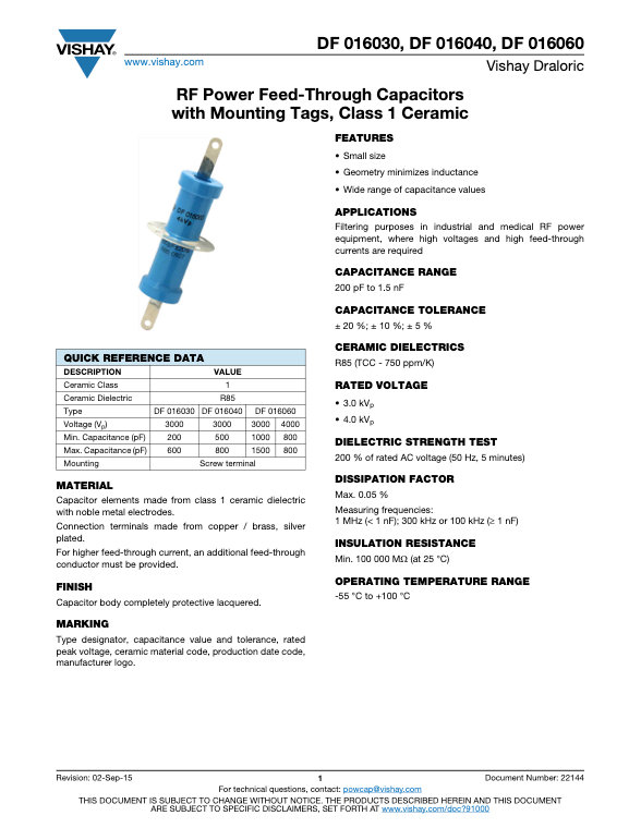 Vishay DB 0160 Series RF Feed Through Ceramic Capacitors