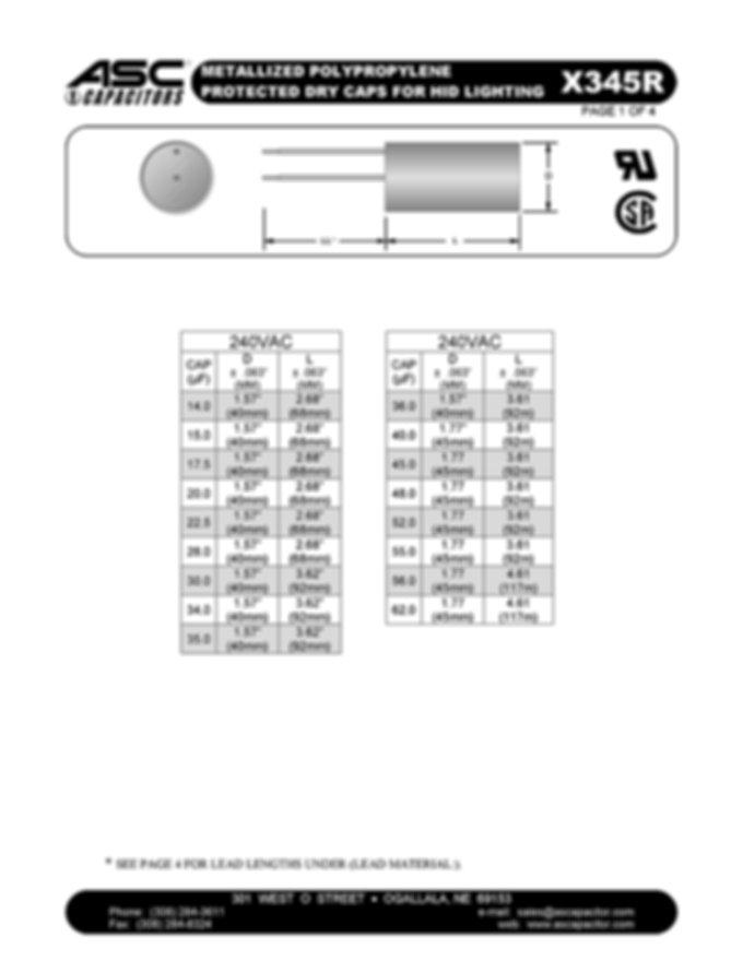 ASC X345R Series Film Capacitors