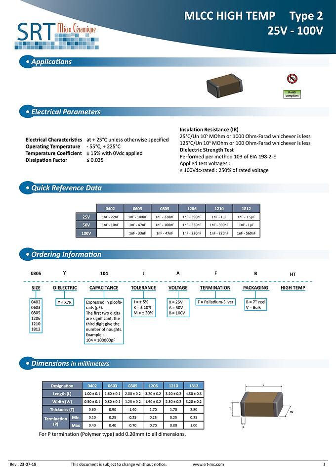 SRT Microceramique X7R High Temperature Series