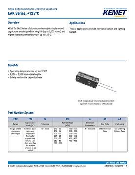 KEMET EAK Series Aluminum Electrolytic Capacitors