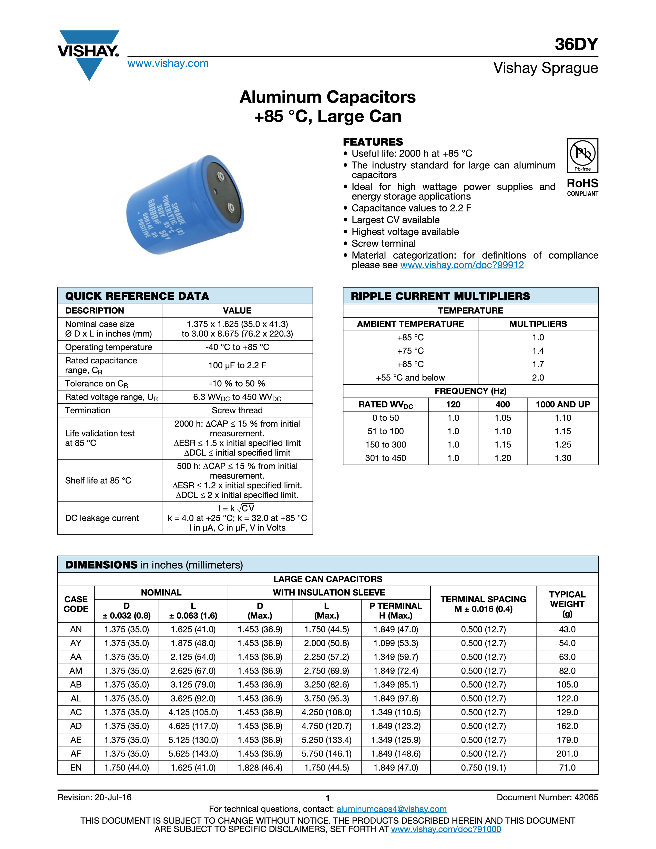 Vishay 36DY Series Capacitor Data Sheet