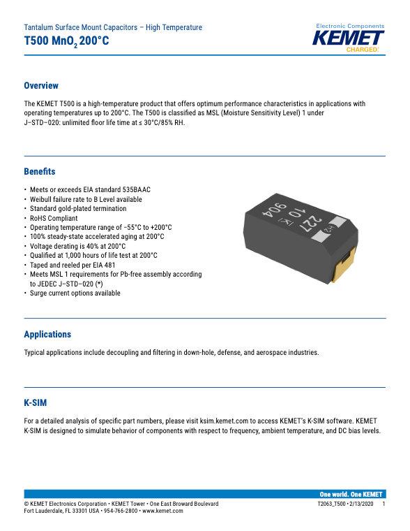 KEMET T500 Series Tantalum Capacitors