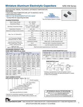 NIC Components NRE HW Series Radial Aluminum Electrolytic Capacitors