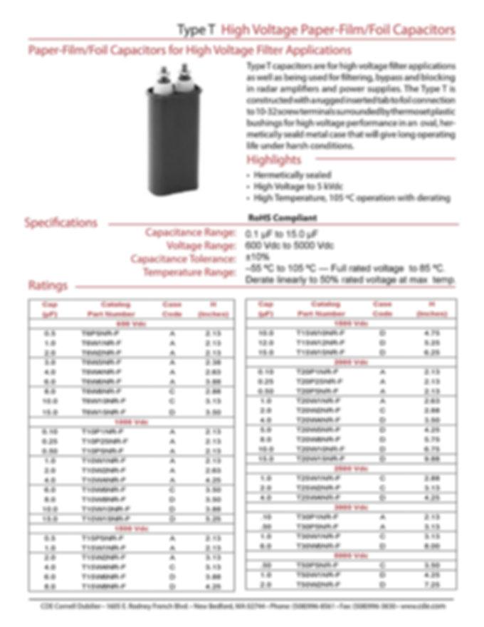 CDE Type T Film Capacitors