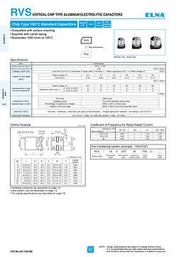 Elna RVS Series Aluminum Electrolytic Capacitors
