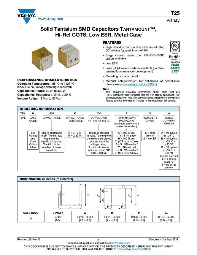 Vishay T25 Series Tantalum Capacitors