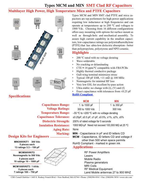 CDE Type MCM And MIN RF Clad Mica Capacitors