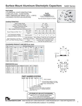NIC Components NAZV Series SMT Aluminum Electrolytic Capacitors