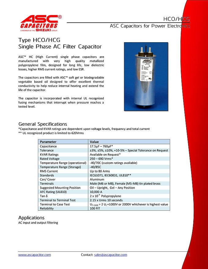 ASC HCO Series AC Filter Capacitors