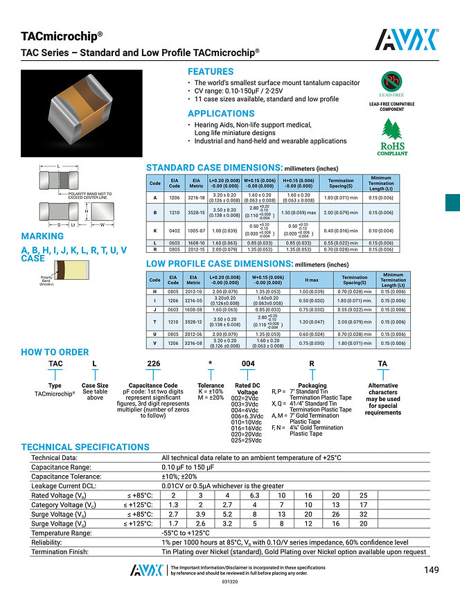 AVX Tacmicrochip® Series Tantalum Capacitors