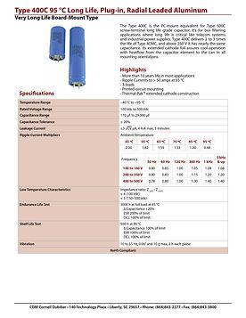 CDE Type 400C Long Life Aluminum Electrolytic Capacitors
