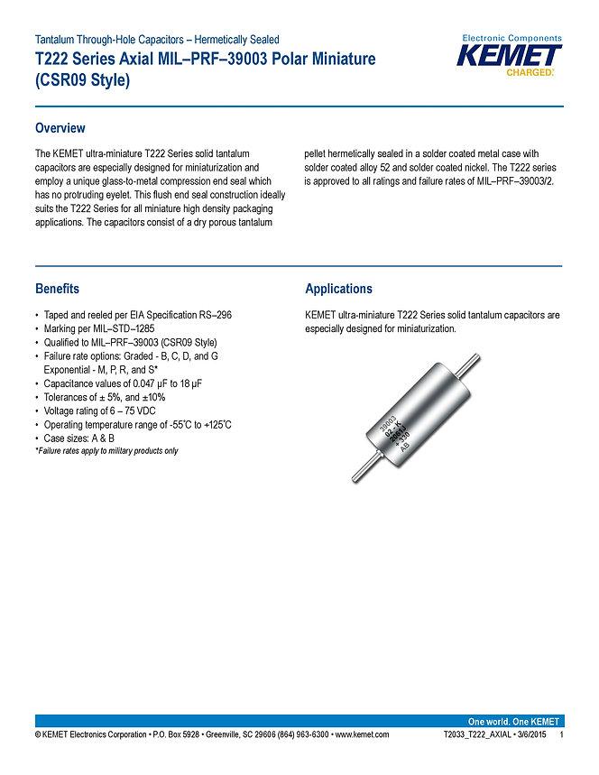 KEMET T222 Series Tantalum Capacitors