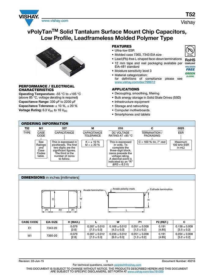 Vishay T52 Series Tantalum Capacitors