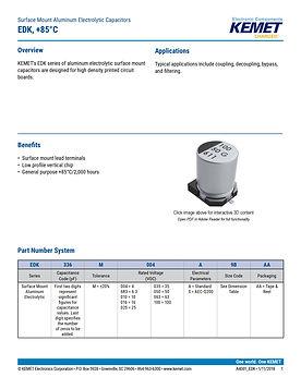 KEMET EDK Series Aluminum Electrolytic Capacitors