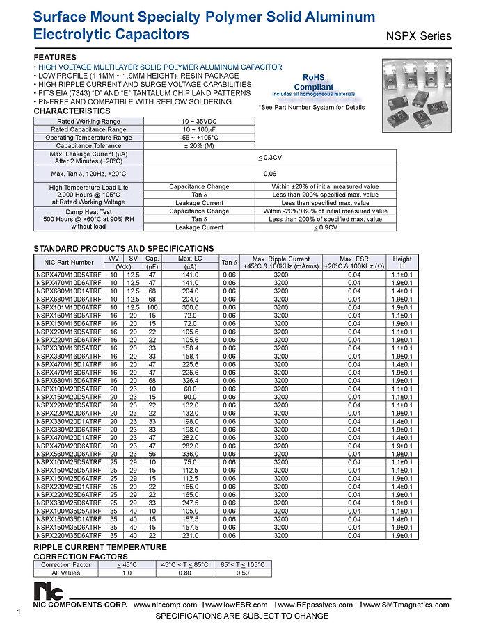 NIC Components NSPX Series Aluminum Capacitors