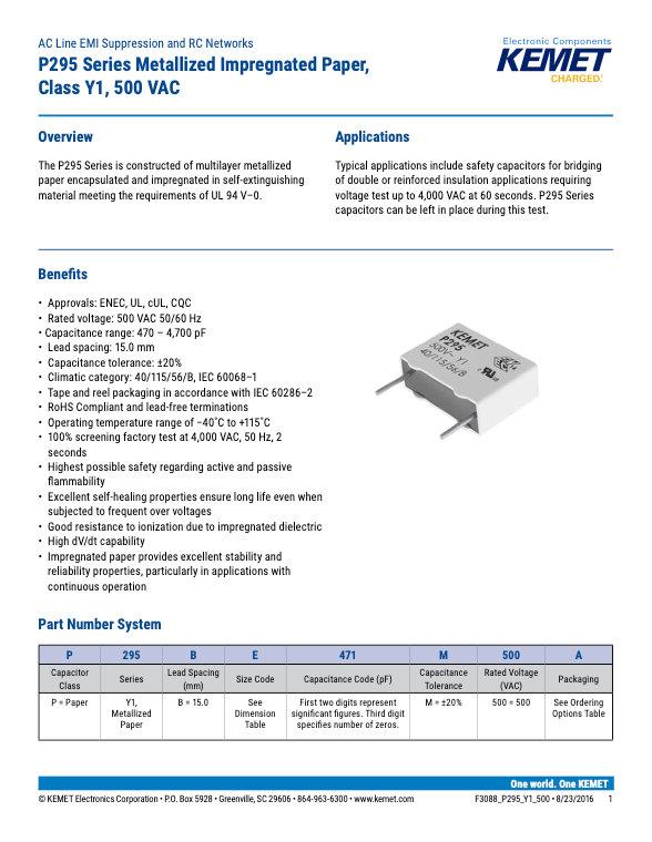 KEMET P295 Series Plastic Film Capacitors