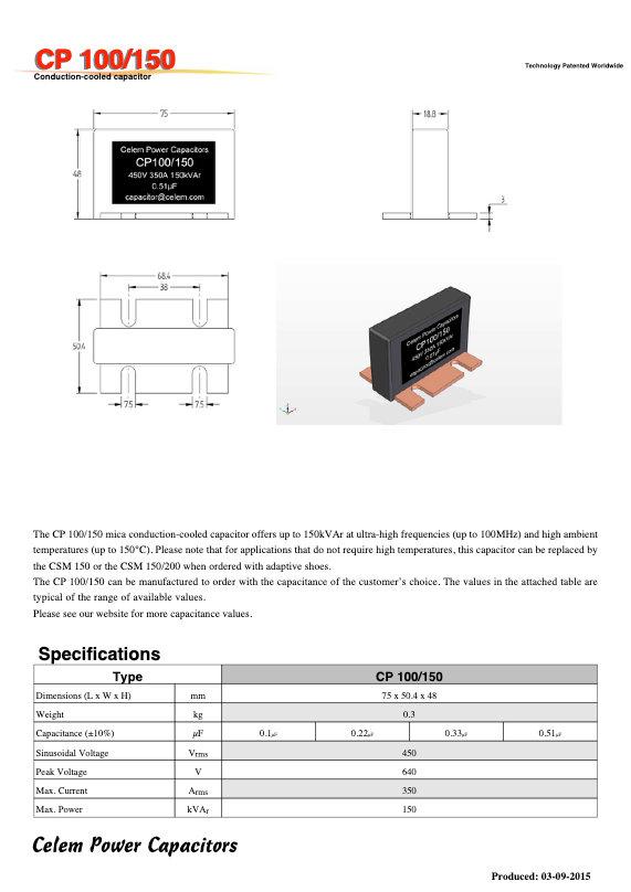 Celem CP 100/150 Series Mica Capacitors