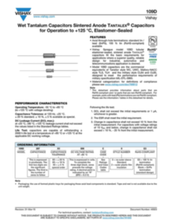 Vishay 109D Series Wet Tantalum Capacitors