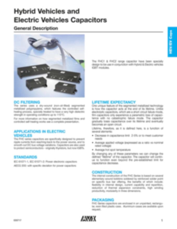 AVX FHC Series EV/HEV Capacitors