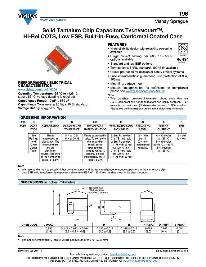 Vishay T96 Series Tantalum Capacitors