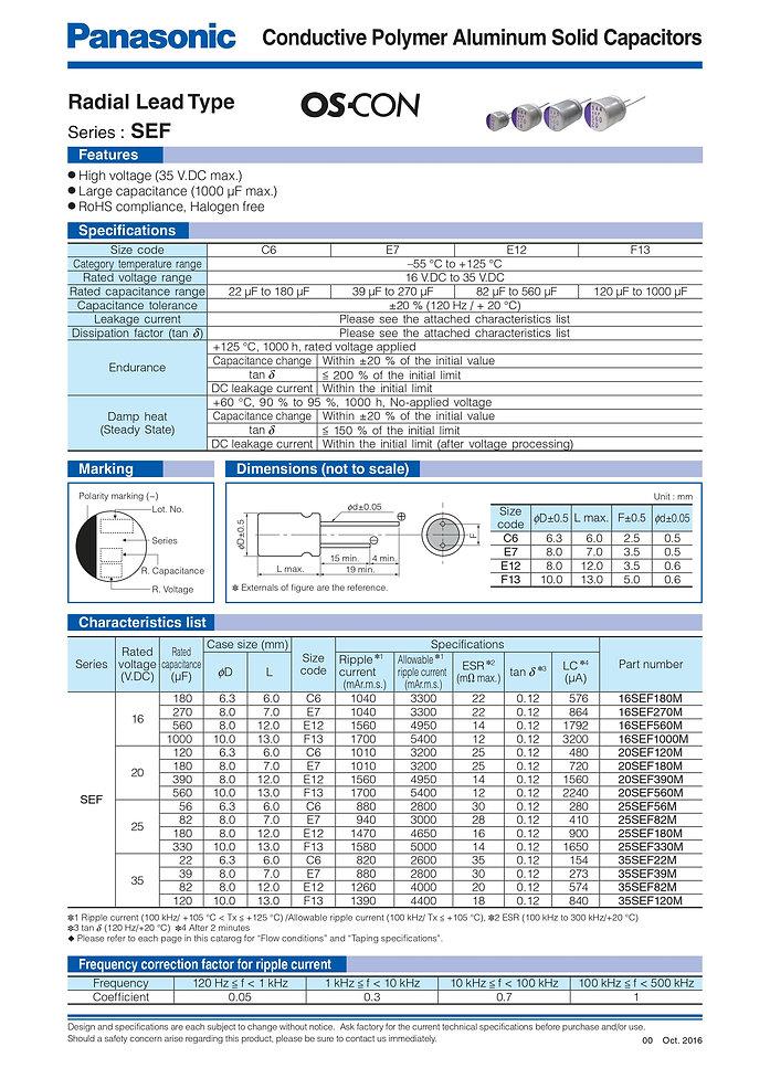 Panasonic SEF Series Aluminum Capacitors