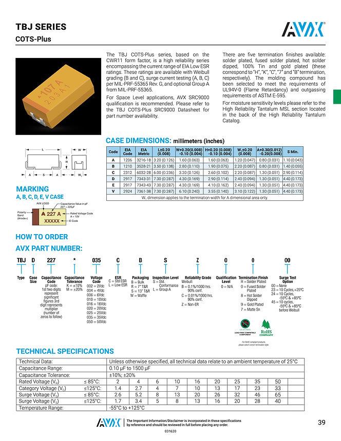 AVX TBJ COTS Plus Series Tantalum Capacitors