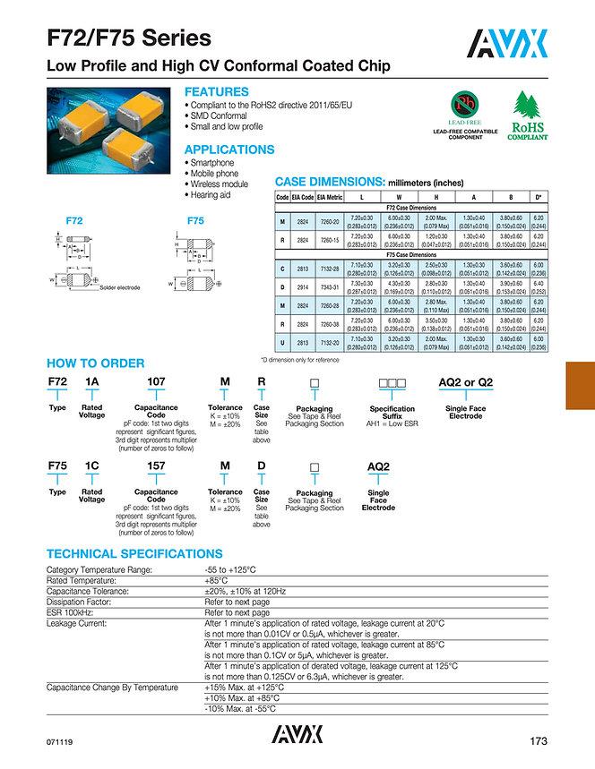 AVX F72/F75 Series Tantalum Capacitors