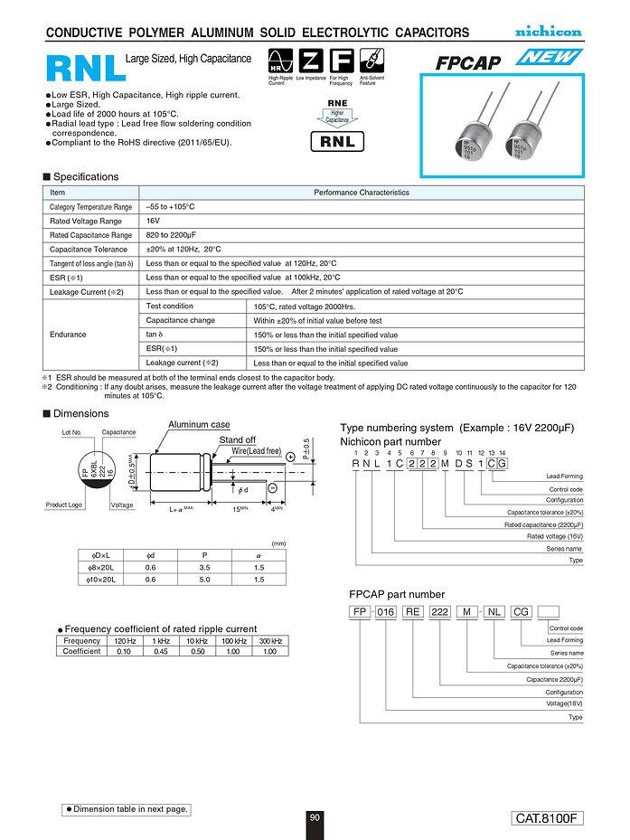 Nichicon RNL Series Aluminum Polymer Capacitors