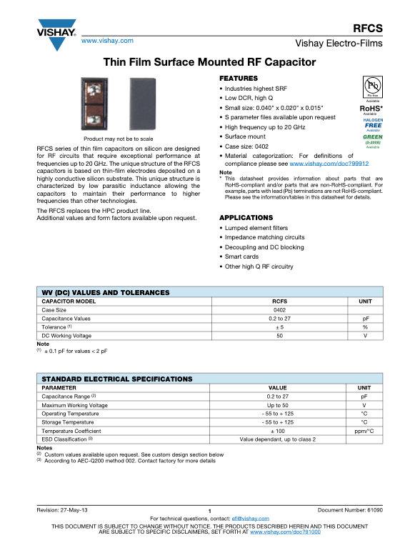Vishay RFCS Series Thin Film Silicon Chip Capacitors