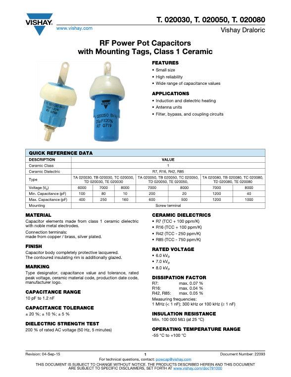 Vishay T. 0200... Series RF Ceramic Capacitors