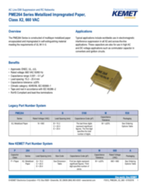 KEMET PME264 Series Plastic Film Capacitors