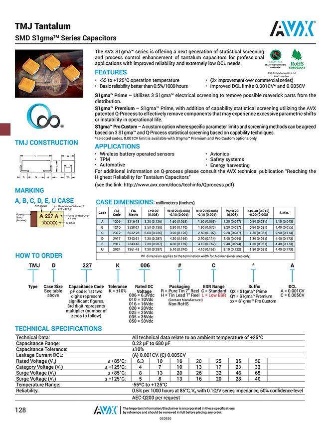 AVX TMJ Series Tantalum Capacitors