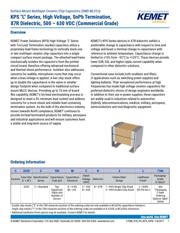 KEMET KPS Series X7R 500-630V SnPb MLC Capacitors