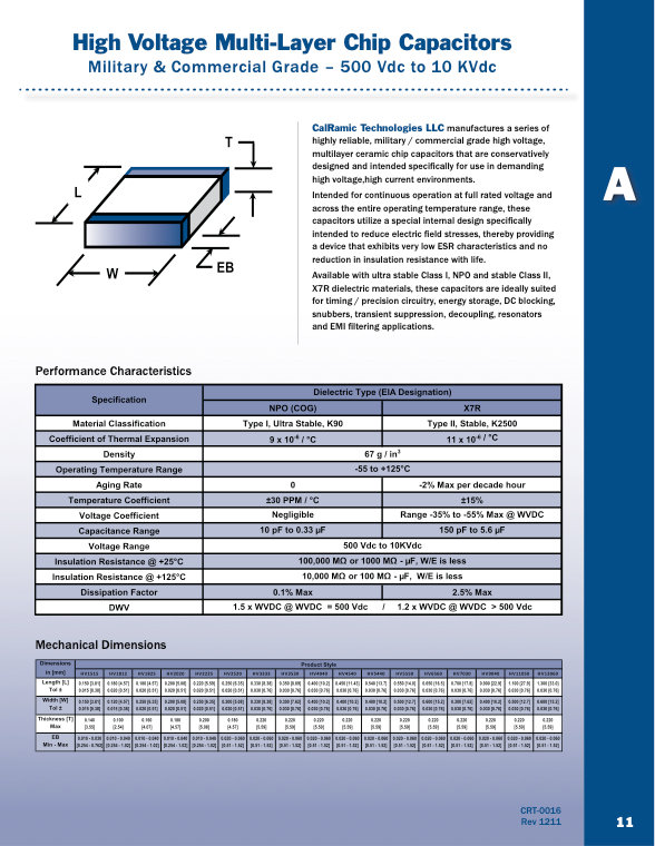 Calramic Commercial And Military Grade High Voltage Chip MLC Capacitors