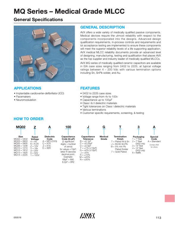 AVX MQ Series MLC Capacitors