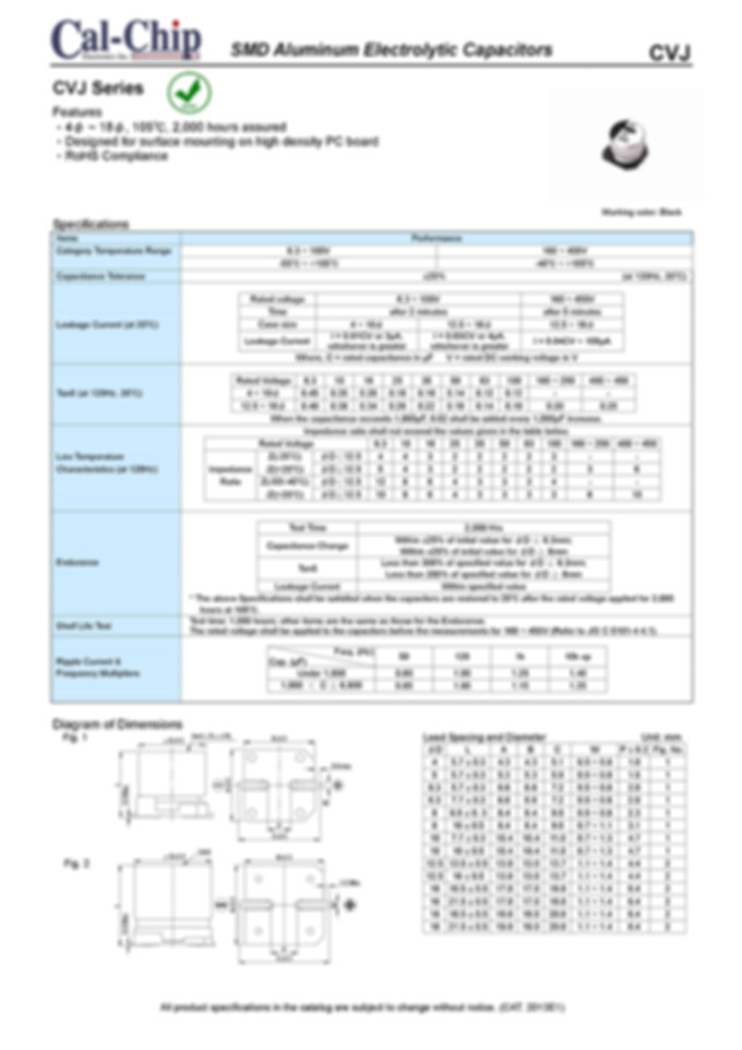 Cal Chip CVJ Series SMT Aluminum Electrolytic Capacitors