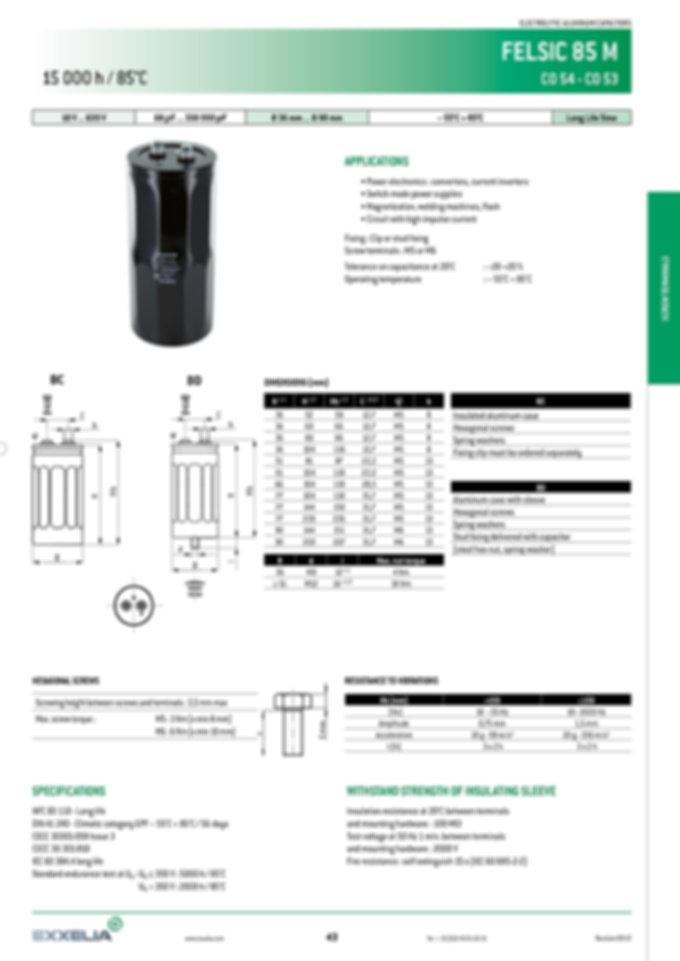 SIC SAFCO FELSIC 85M Series Aluminum Capacitors
