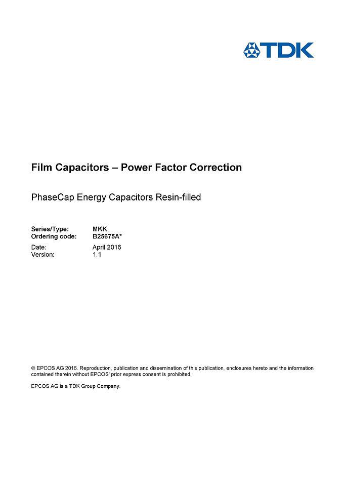 Epcos B25675A* Series PFC Capacitors