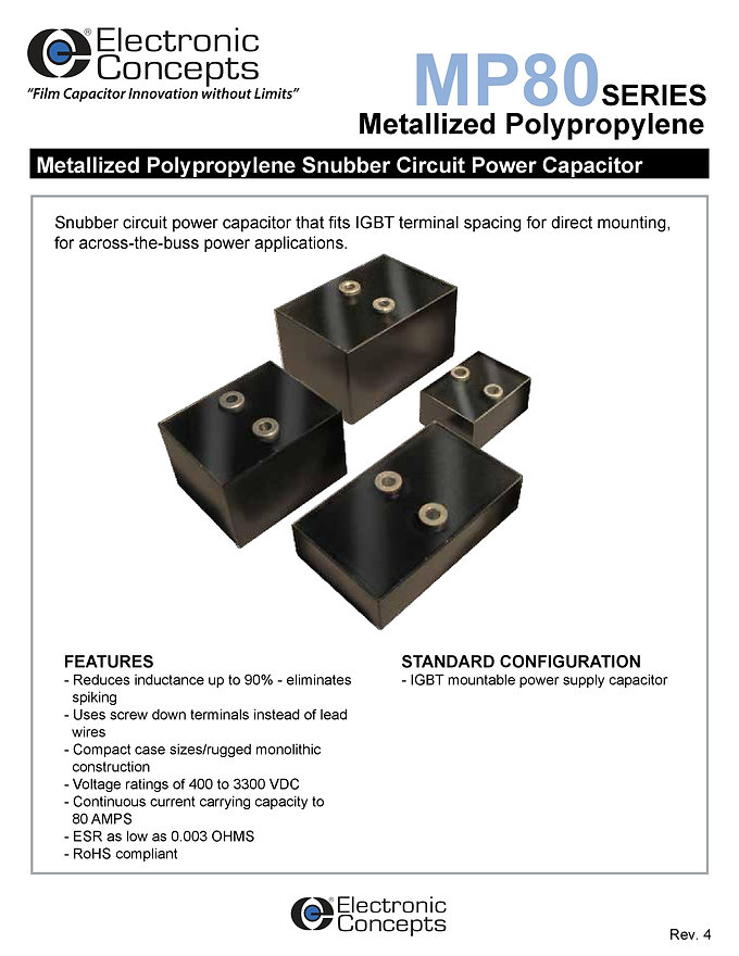 Electronic Concepts MP80 Series Snubber Capacitors