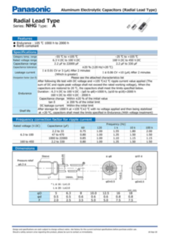Panasonic NHG Series Aluminum Capacitors