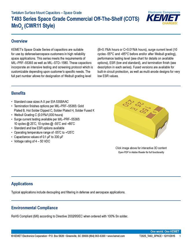 KEMET T493 Series Space Grade Tantalum Capacitors