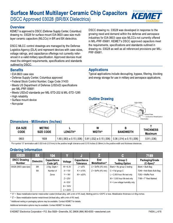 KEMET DSCC 03028 MLC Capacitors