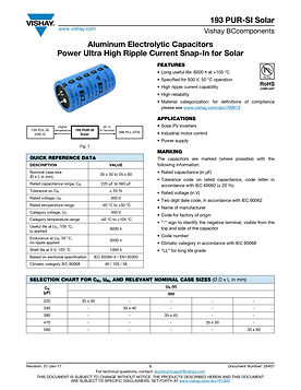 Vishay 193 PUR-SI Solar Series Aluminum Electrolytic Capacitors
