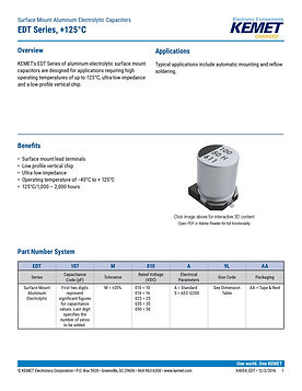 KEMET EDT Series Aluminum Electrolytic Capacitors