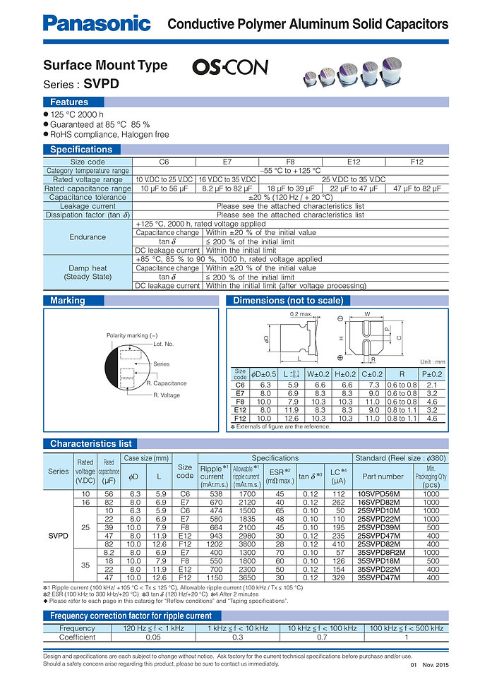 Panasonic SVPD Series Aluminum Polymer Capacitors