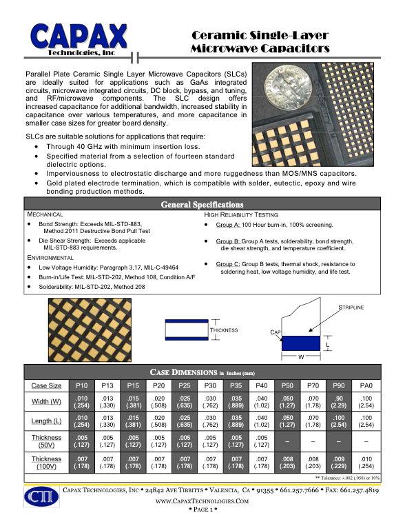 Capax Single Layer Ceramic Capacitors